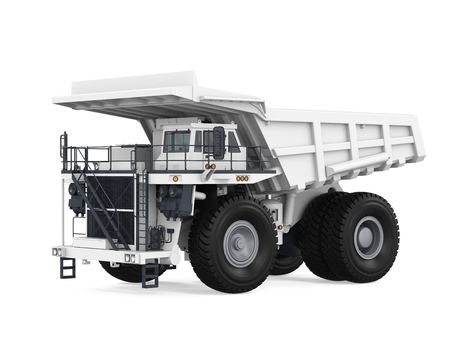 White Mining Truck Isolated Stock Photo