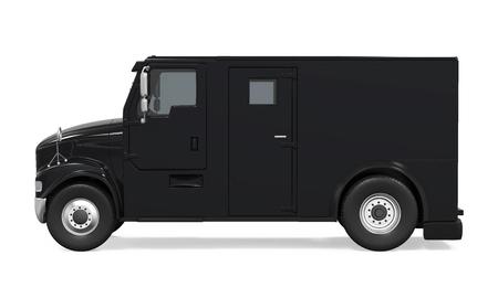 分離した黒い装甲トラック
