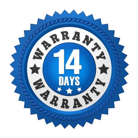 14 Days Warranty Badge Isolated Stock Photo