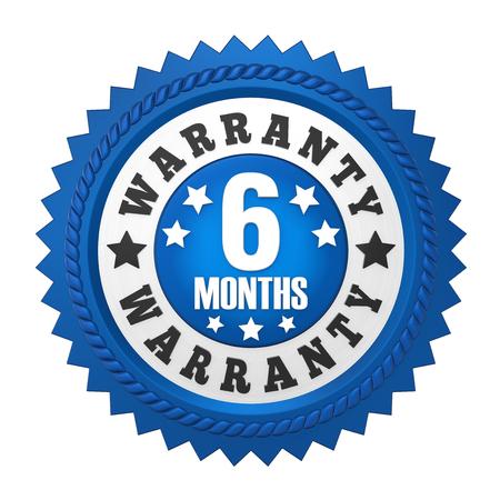 6 maanden garantie badge geïsoleerd