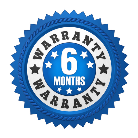 6 Months Warranty Badge Isolated Фото со стока