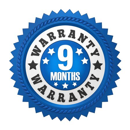 9 Months Warranty Badge Isolated Stock Photo