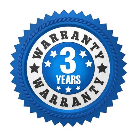 3 ans de garantie Badge isolé Banque d'images - 82116042