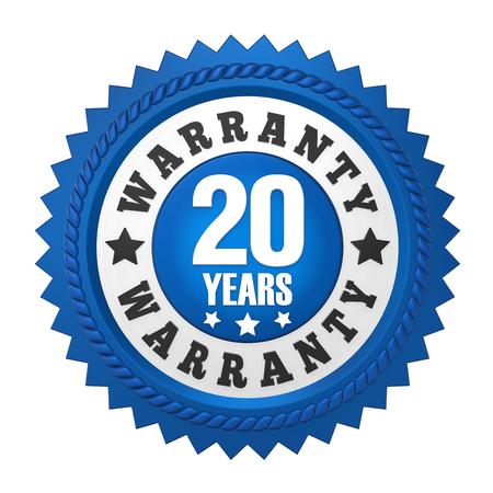 20 Years Warranty Badge Isolated Banco de Imagens