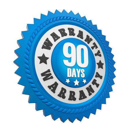 ninety: 90 Days Warranty Badge Isolated Stock Photo