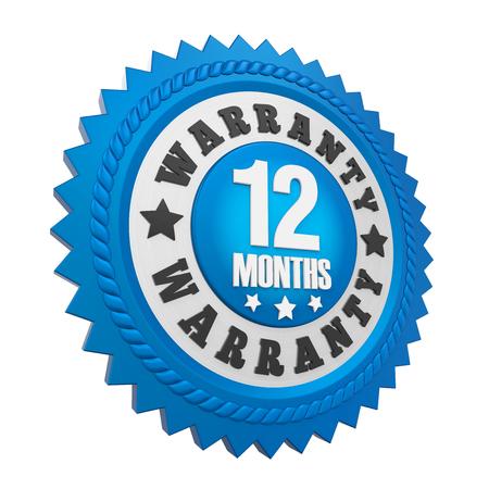 12 ヶ月保証分離バッジ 写真素材