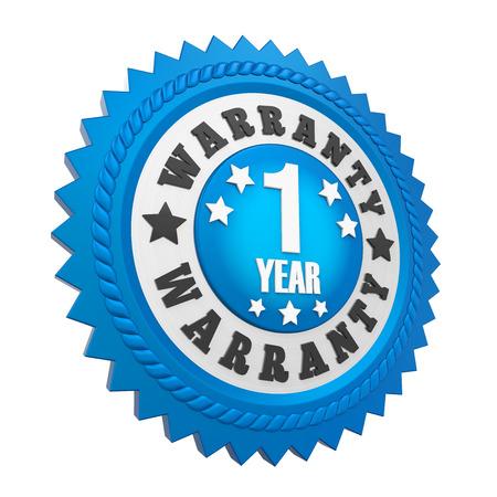 1 year warranty: 1 Year Warranty Badge Isolated Stock Photo