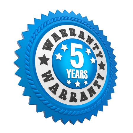 5 Years Warranty Badge Isolated Stock Photo