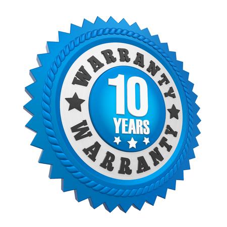 10 Years Warranty Badge Isolated