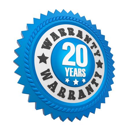 20 Years Warranty Badge Isolated Imagens
