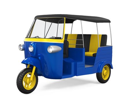 motorizado: Blue Rickshaw auto aislado Foto de archivo