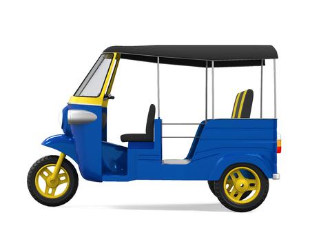 Blue Auto Rickshaw Isolated