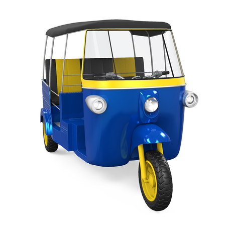 auto rickshaw: Blue Auto Rickshaw Isolated