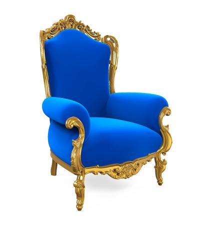 Blauwe Troonstoel Geïsoleerd Stockfoto