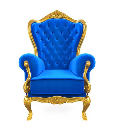 Azul, trono, silla, aislado Foto de archivo - 82334250