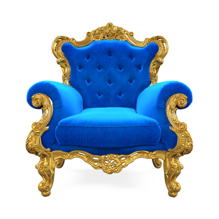 Blue Throne Chair Isolated