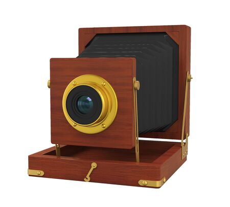 old fashioned: Vintage Wooden Camera Isolated