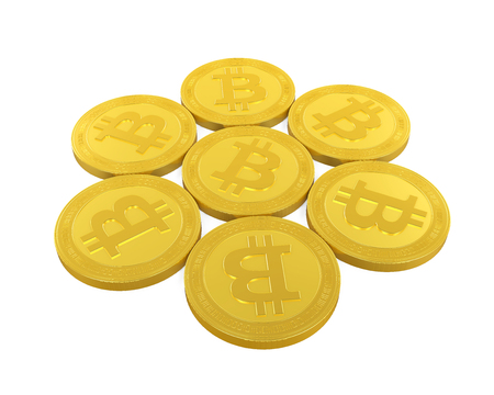 Stack of Bitcoins Isolated