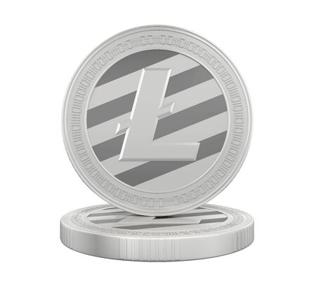 silver coins: Stack of Litecoins Isolated