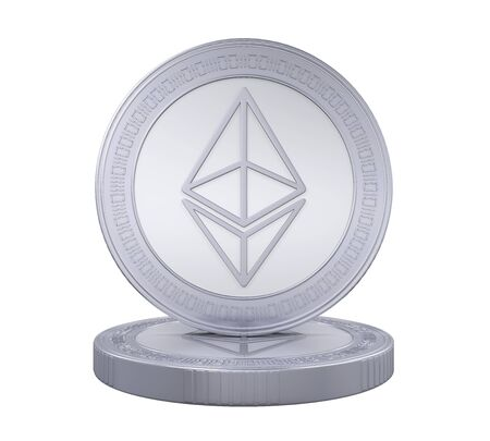 silver coins: Stack of Ethereum Coins Isolated