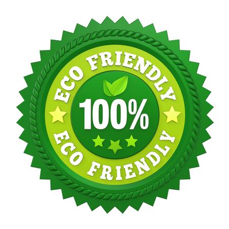 100% Eco Friendly Badge Label Isolated Banco de Imagens