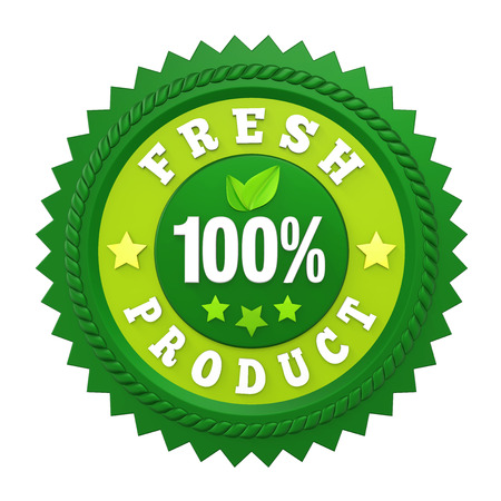 100% Fresh Product Badge Label Isolated Banco de Imagens