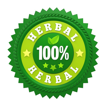 100% Herbal Badge Label Isolated