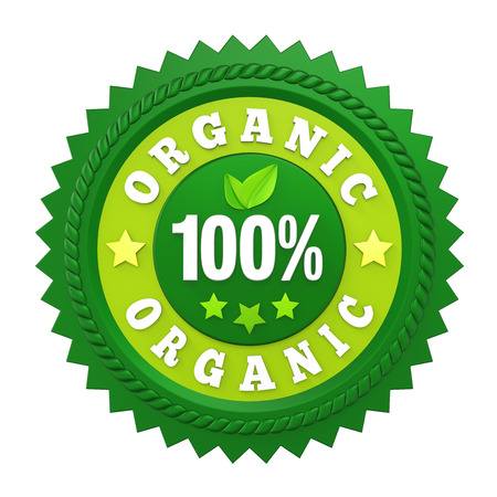 100% Organic Badge Label Isolated