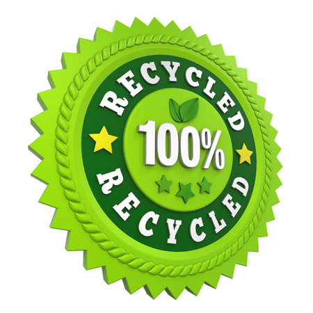 100% Recycled Badge Label Isolated Stock Photo
