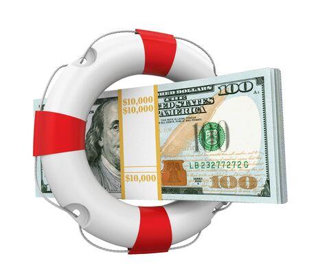 safety belts: United States Dollars and Lifebuoy Isolated