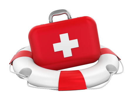 First Aid Kit in Lifebuoy Isolated