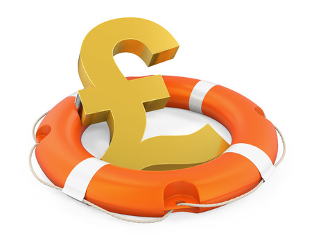 Great Britain Pound Symbol in Lifebuoy Isolated Stock Photo