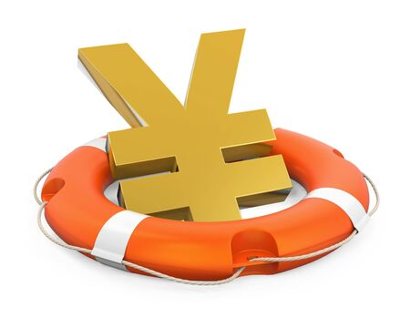 Japanese Yen Sign in Lifebuoy Isolated Stock Photo