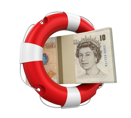 Great Britain Pound and Lifebuoy Isolated