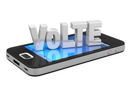 LTE サインオン分離携帯電話上の声 写真素材