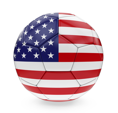 3d ball: Soccer Ball United States of America Flag Isolated