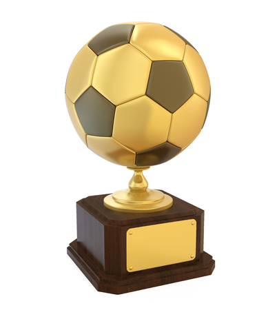 Golden Soccer Trophy Isolated Stock Photo