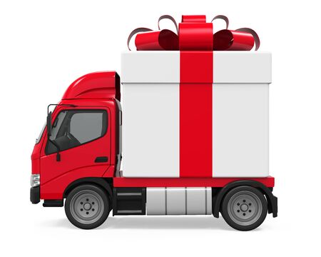 Delivery Van with Gift Box Isolated