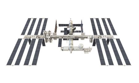 Internationaal ruimtestation geïsoleerd Stockfoto