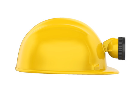 Miner Helmet with Lamp Isolated Stock Photo