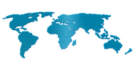 Dotted Pixel World Map Isolated
