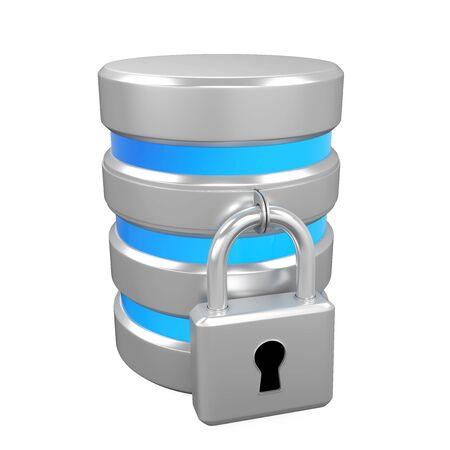 Database Icon and Lock Isolated Stock Photo