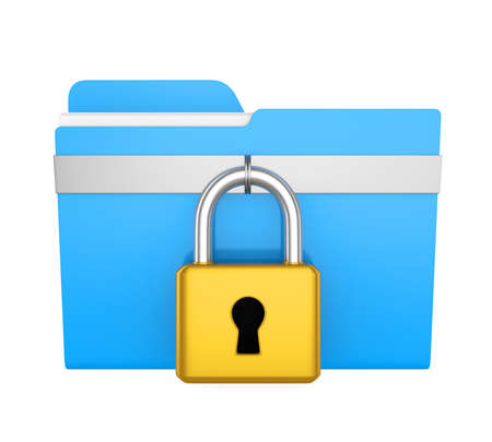 Computer Folder and Lock Isolated Stock Photo
