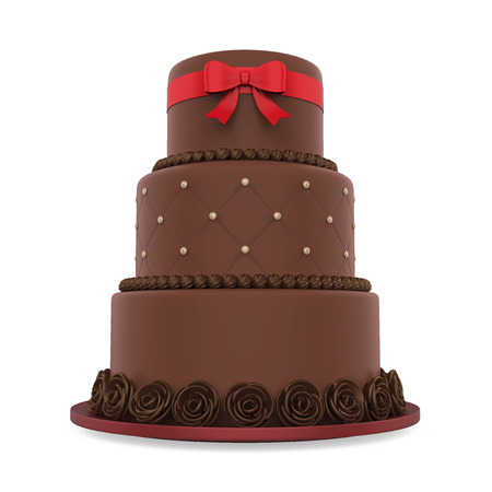 Chocolate Tiered Cakes Isolated