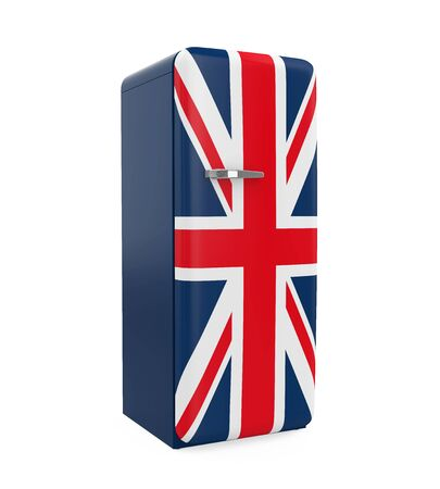old english: Union Jack Retro Refrigerator Isolated Stock Photo