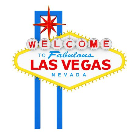 Witamy w fantastyczny znak Las Vegas na białym tle