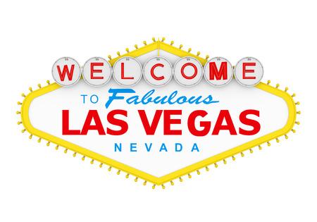 Welkom bij Fabelachtige Las Vegas Sign Isolated Stockfoto - 85086472