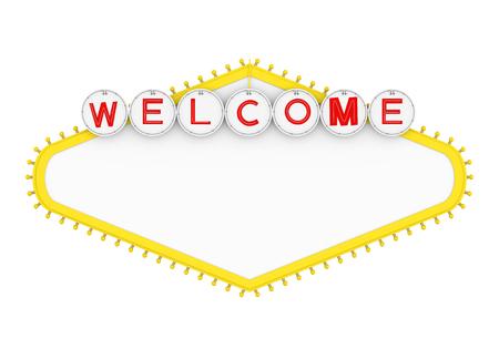 Signo de bienvenida en blanco de Las Vegas aislado Foto de archivo - 85086824