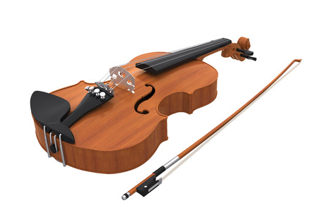 Aged Violin with Bow Isolated