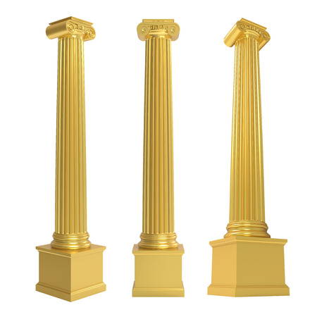 roman pillar: Golden Classic Columns Isolated
